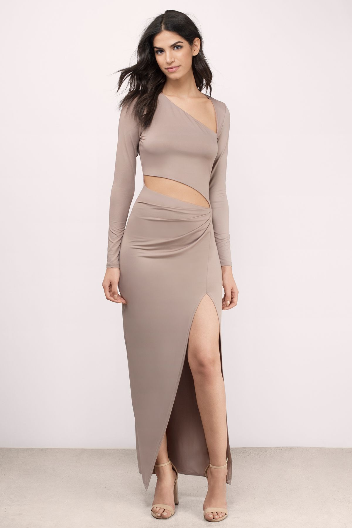 Kris cut out maxi dress maxi dresses taupe and black