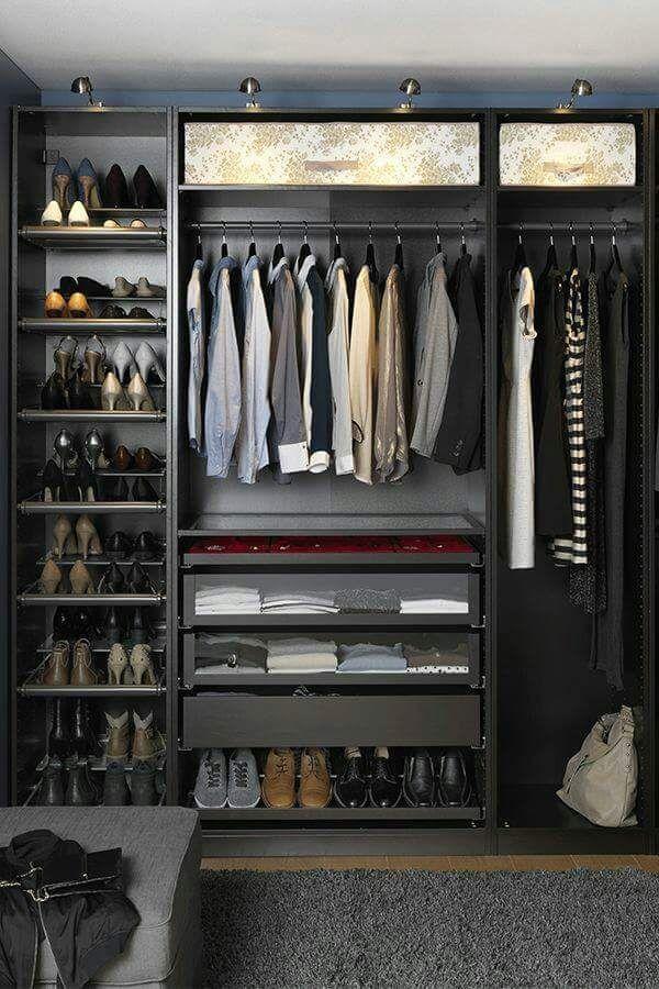 Begehbarer Kleiderschrank, Männer Mode, Ankleidezimmer, Schlafzimmer Ideen,  Inneneinrichtung, Organisierte Toiletten, Offener Schrank, Schlafzimmer  Schränke ...