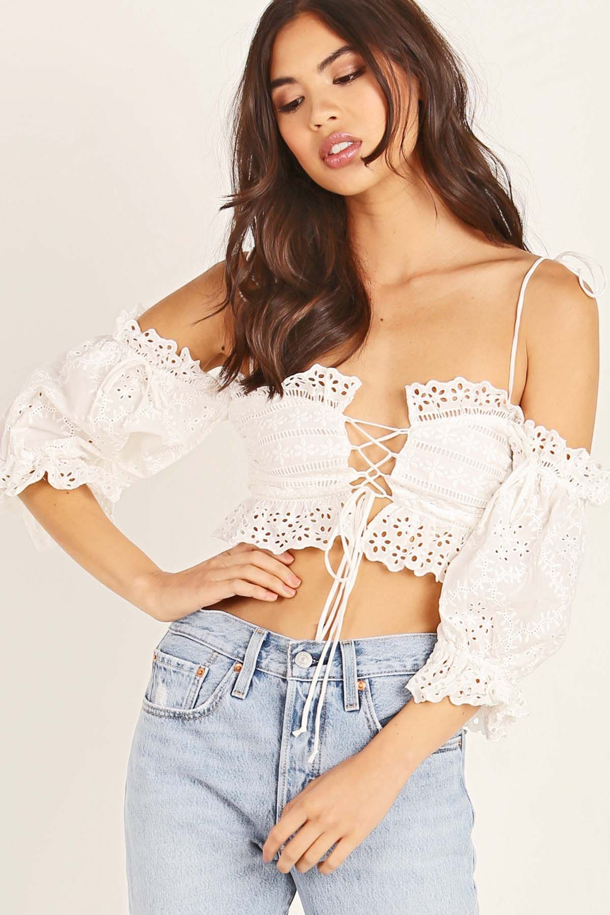 897db9b01a927 For love and lemons annabella eyelet crop top. White off the shoulder top  with lace up front detail! The perfect top to take to coachella!