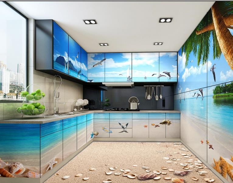 3d Stereoscopic Wallpaper Custom 3d Floor Murals Pvc Self Adhesive  Wallpaper Coco Beach 3d Floor Tiles