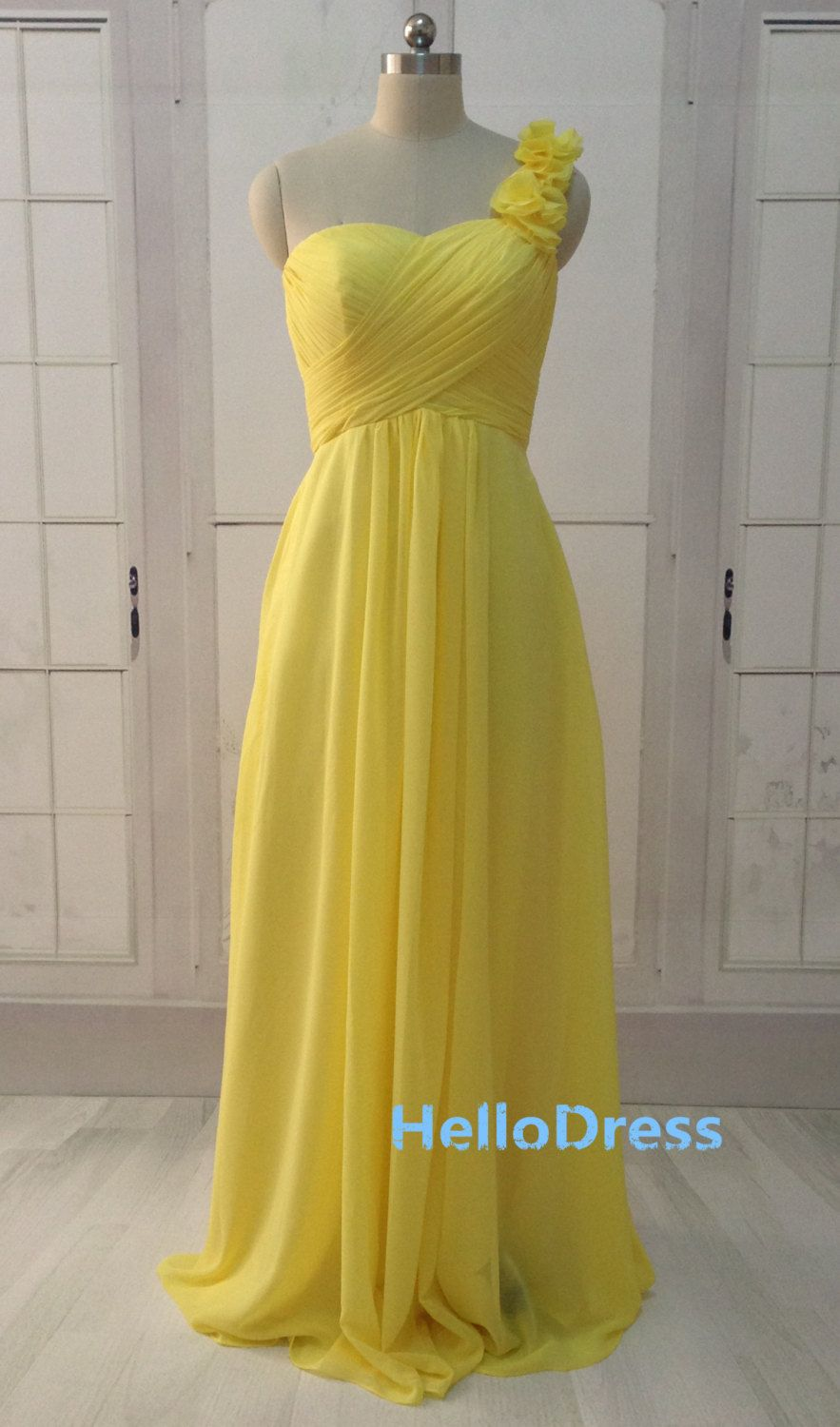 Long a line one shoulder sweetheart yellow by hellodress on etsy