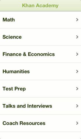 Khan Academy app sada za iPhone Education, Prep talk