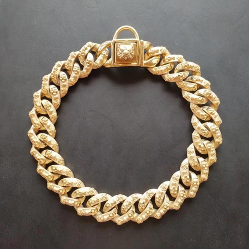 32mm Gold Chain Dog Collar 316l Stainless Steel Link Gold Necklace For Pitbull Dog Necklace Cuban Link Chain Necklaces Dog Collar