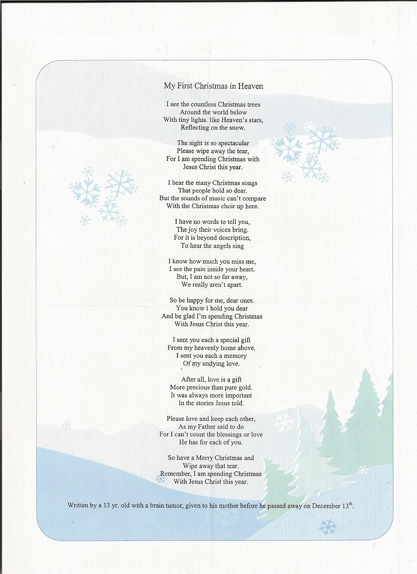 This is a picture of Delicate Christmas in Heaven Poem Printable