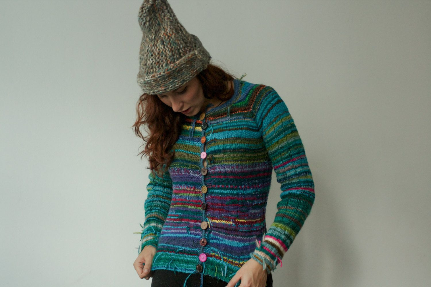 Handmade bright and colourful striped cardigan by TASSSHA on Etsy ...