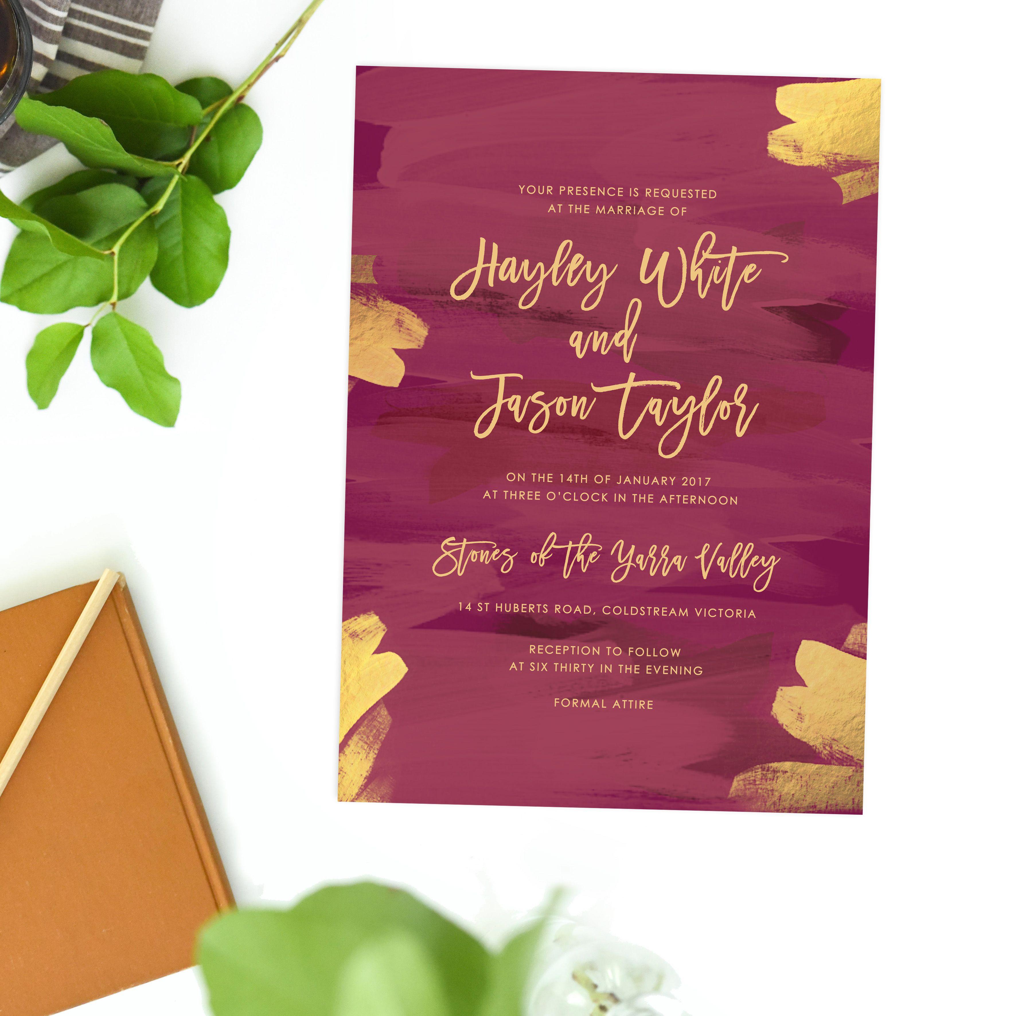 Plum and Gold Burgundy Wedding Invitations | Burgundy wedding ...