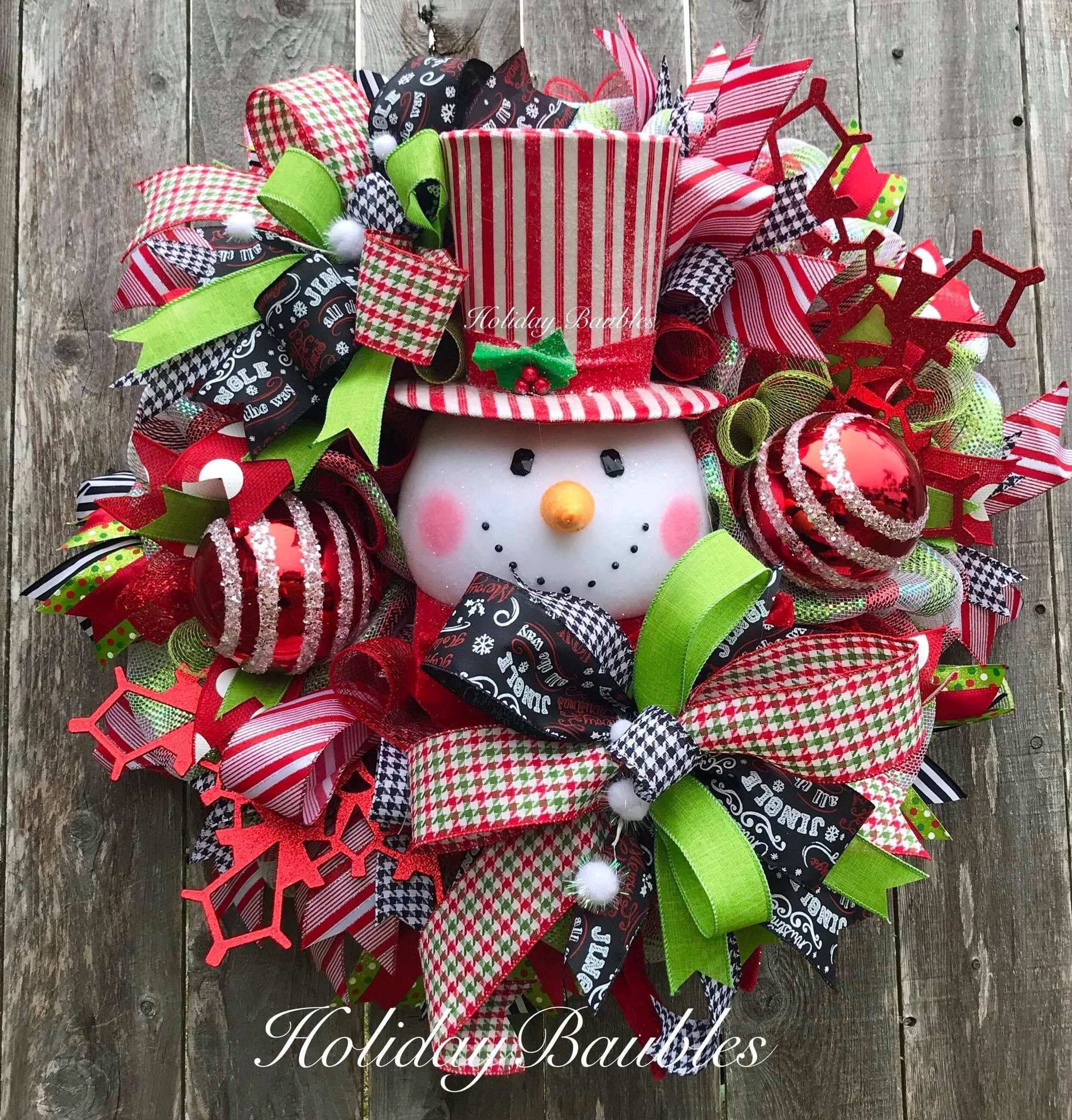 Snowman Wreath By Holiday Baubles Christmas Wreaths Christmas Mesh Wreaths Xmas Wreaths