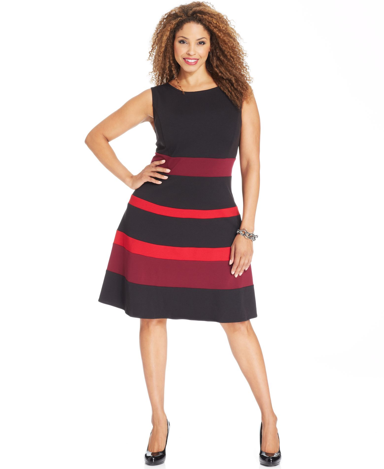 NY Collection Plus Size Dress, Sleeveless Ponte-Knit Colorblocked A ...