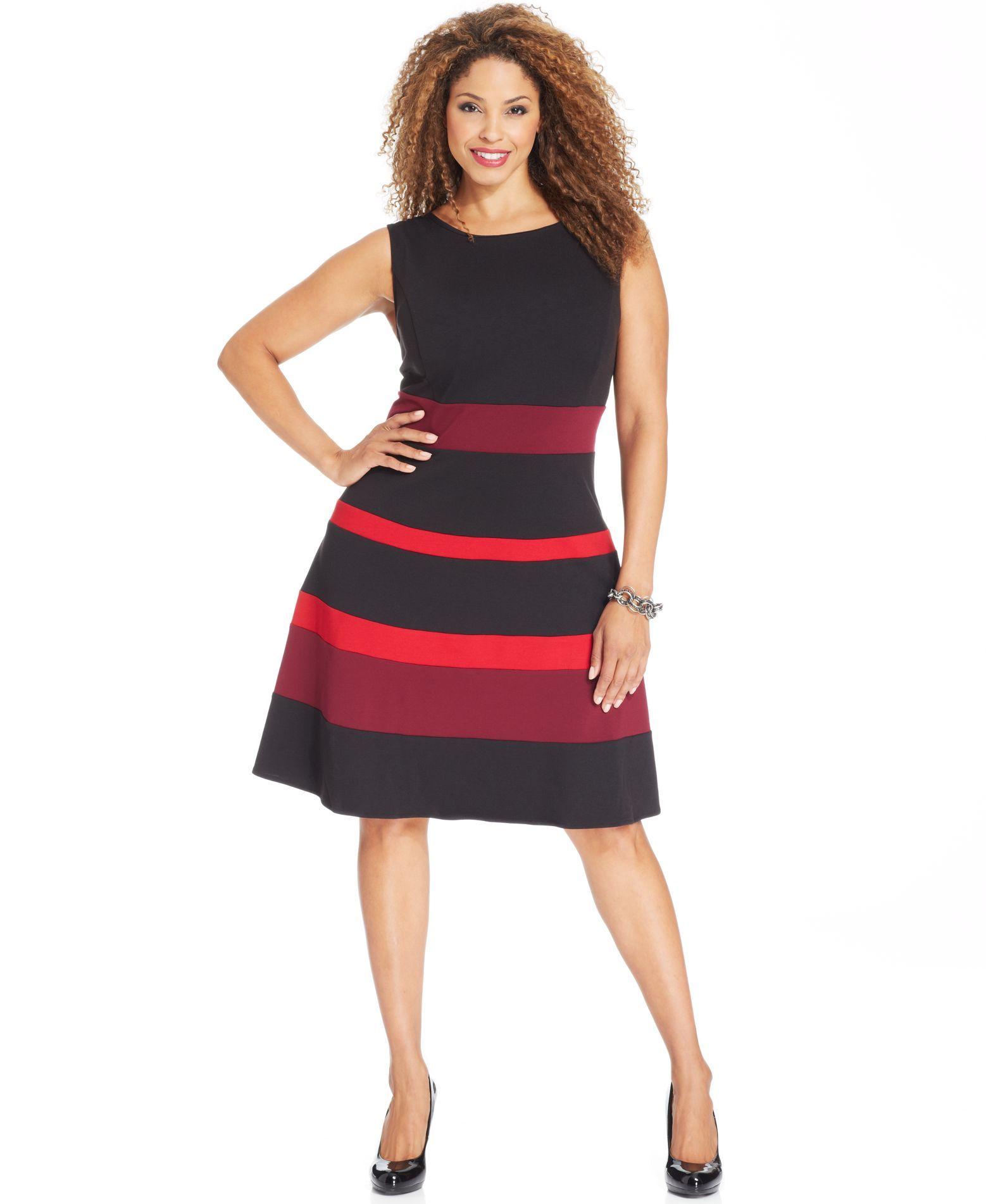 NY Collection Plus Size Dress, Sleeveless Ponte-Knit ...
