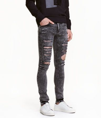 7382a5f2 Super Skinny Low Ripped Jeans | Light gray | Men | H&M US | Gray ...