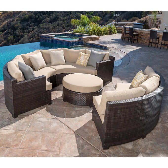 Belmont 4 Piece Curved Sectional Set Costco Patio Furniture Pallet Furniture Outdoor Cheap Patio Furniture