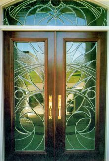 Art Glass by Wells | Contemporary custom leaded glass front entry ...