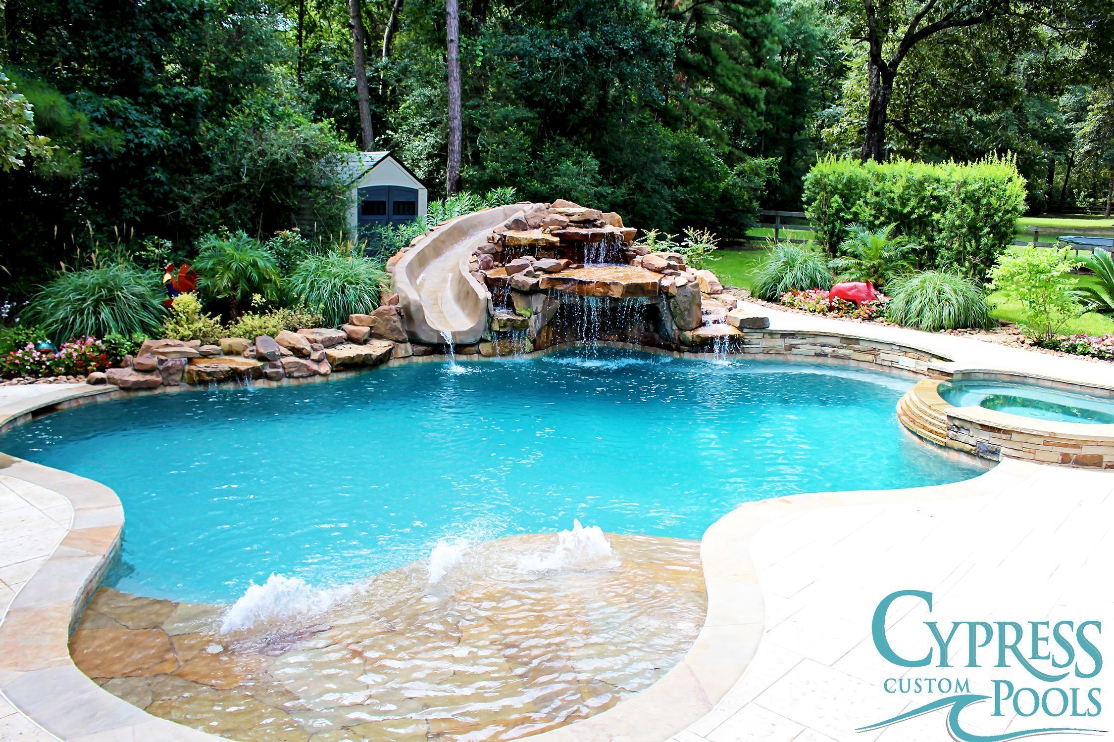 Natural Freeform Pool with Waterfall #PoolLandscapingIdeas ... |Small Freeform Pools With Waterfalls
