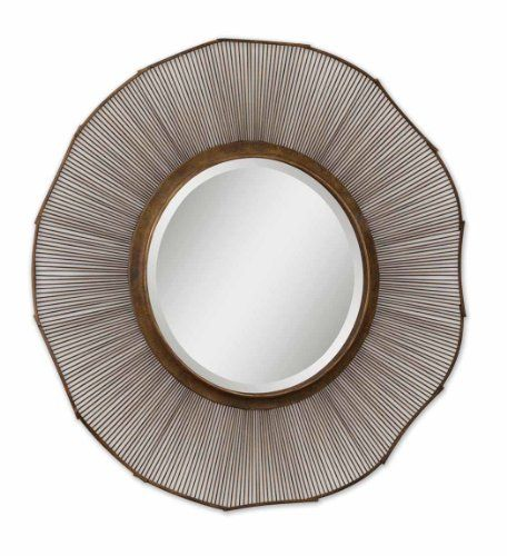 62 Distressed Rust Brown  Bronze Metal Framed Beveled Round Wall Mirror *** Learn more by visiting the image link.