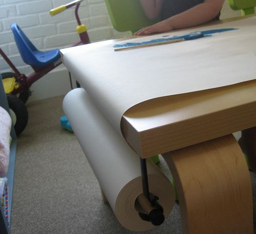 Mounting The Ikea Paper Roll To A Table Art Table Ikea Diy Art