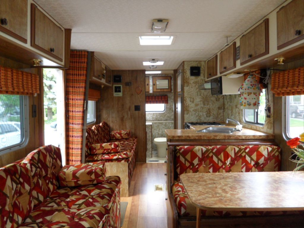 Back View 1980 Vintage Motorhome Interior Original Fabricblinds
