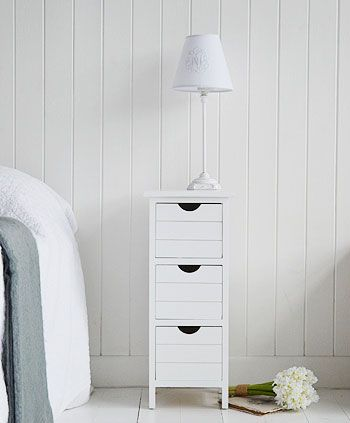 Dorset White Slim 25cm Bedside Table With Drawers