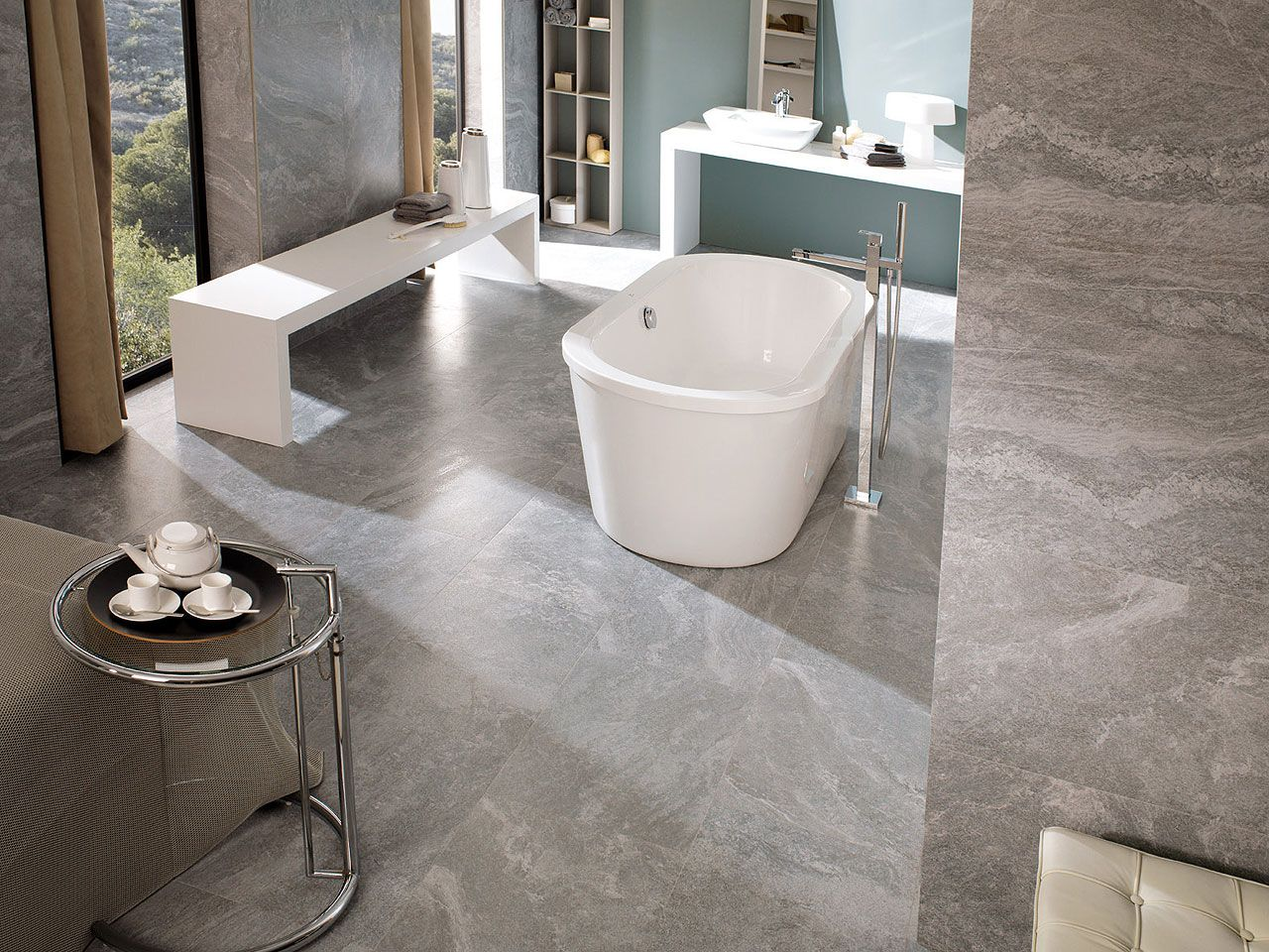 Stylish bathroom with porcelanosa 39 s tiles floor tiles for Porcelanosa bathroom ideas