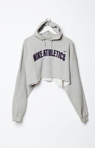 Retro Gold Vintage Nike Cropped Fleece Hoodie Sweatshirt at