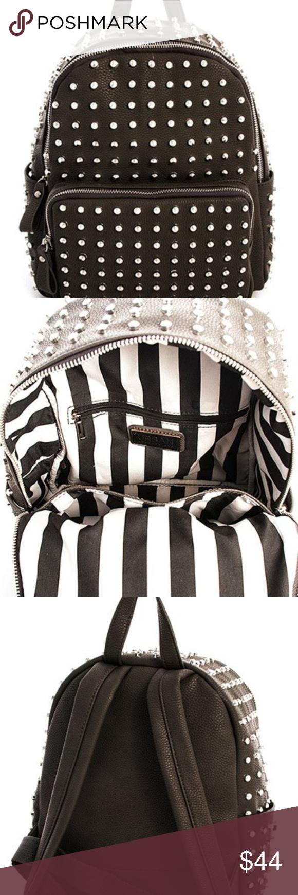 24b80f790c7 Studded Backpack Smooth Textured PU Leather Adjustable Backpack Straps  Zipper Top Closure Front Zipper Pocket Inside Zip Wall Pocket at Back Side  Inside ...