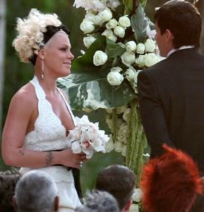 American Famous Singer Pink Getting Married In Her White Dress With A Black Ribbon