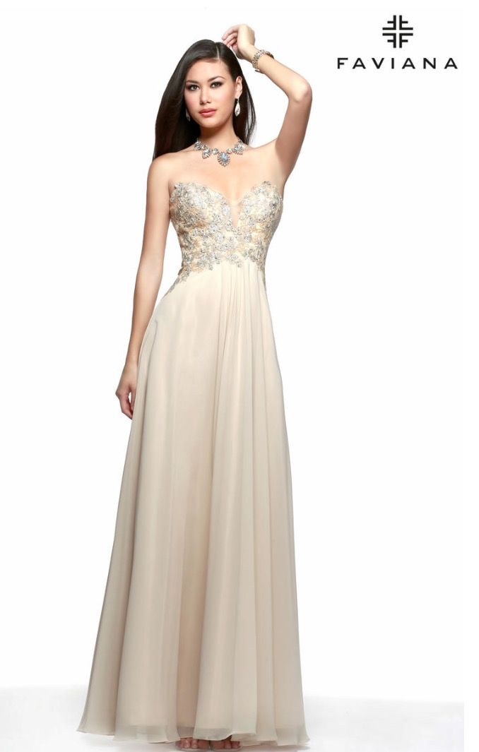 Strapless chiffon with decorative floral decals and mesh insert on ...