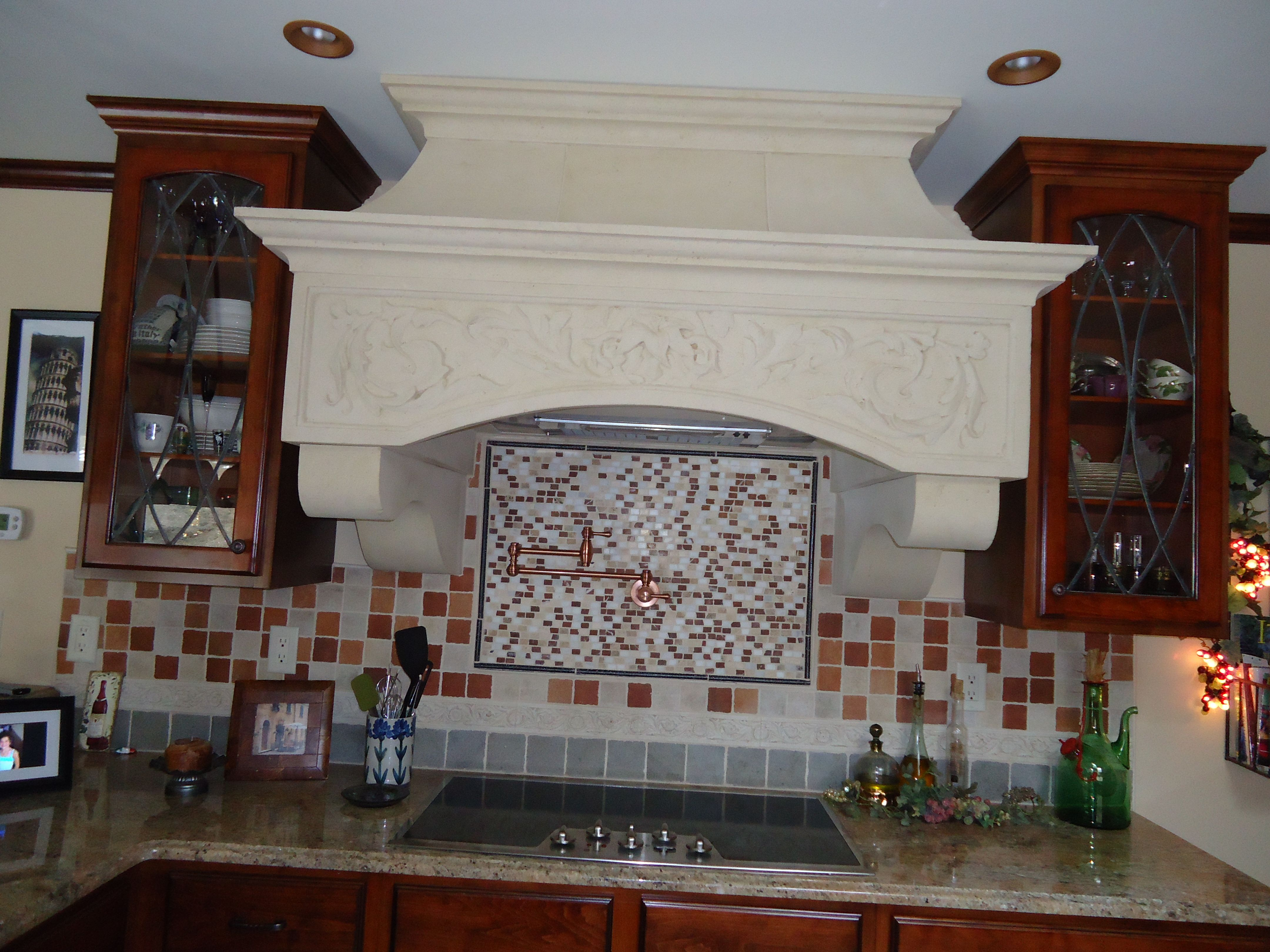 My Stone Hood Pot Filler Tile Design Stained Glass On Cabinets