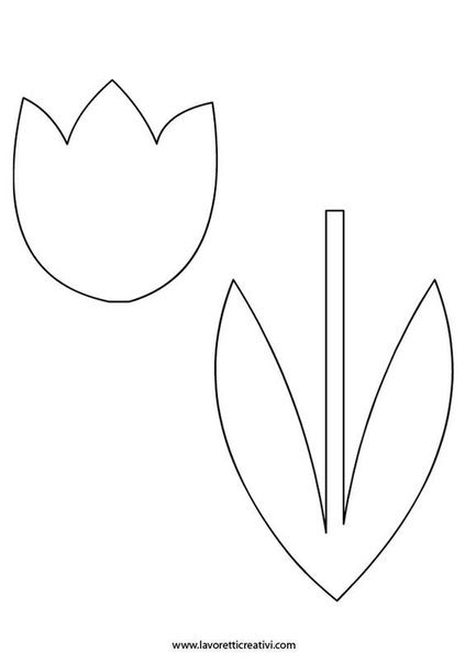 Шаблон тюльпана для открытки, смешной рыбы