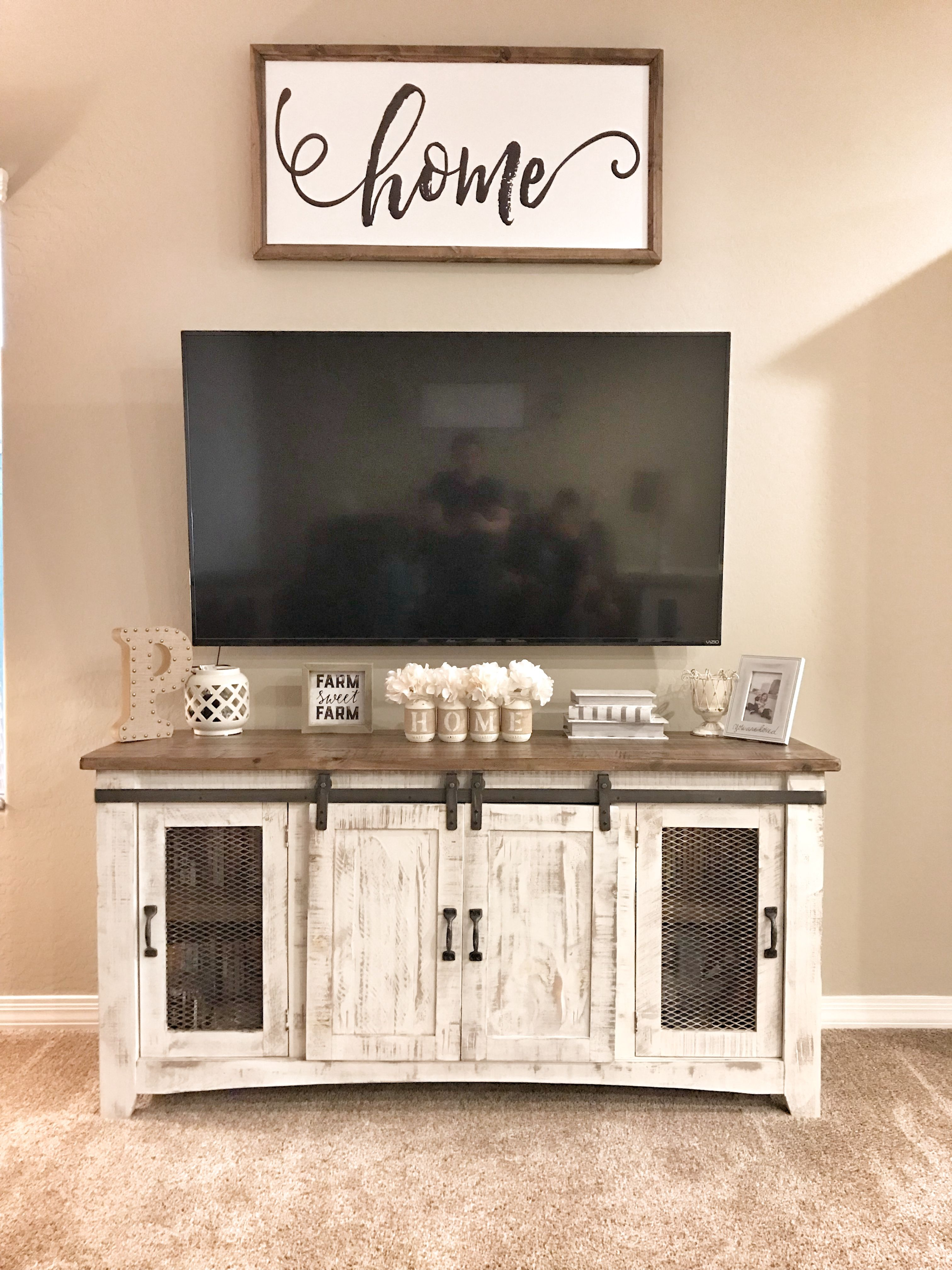 Farmhouse tv stand Tv stand decor Media stand decor | New ...