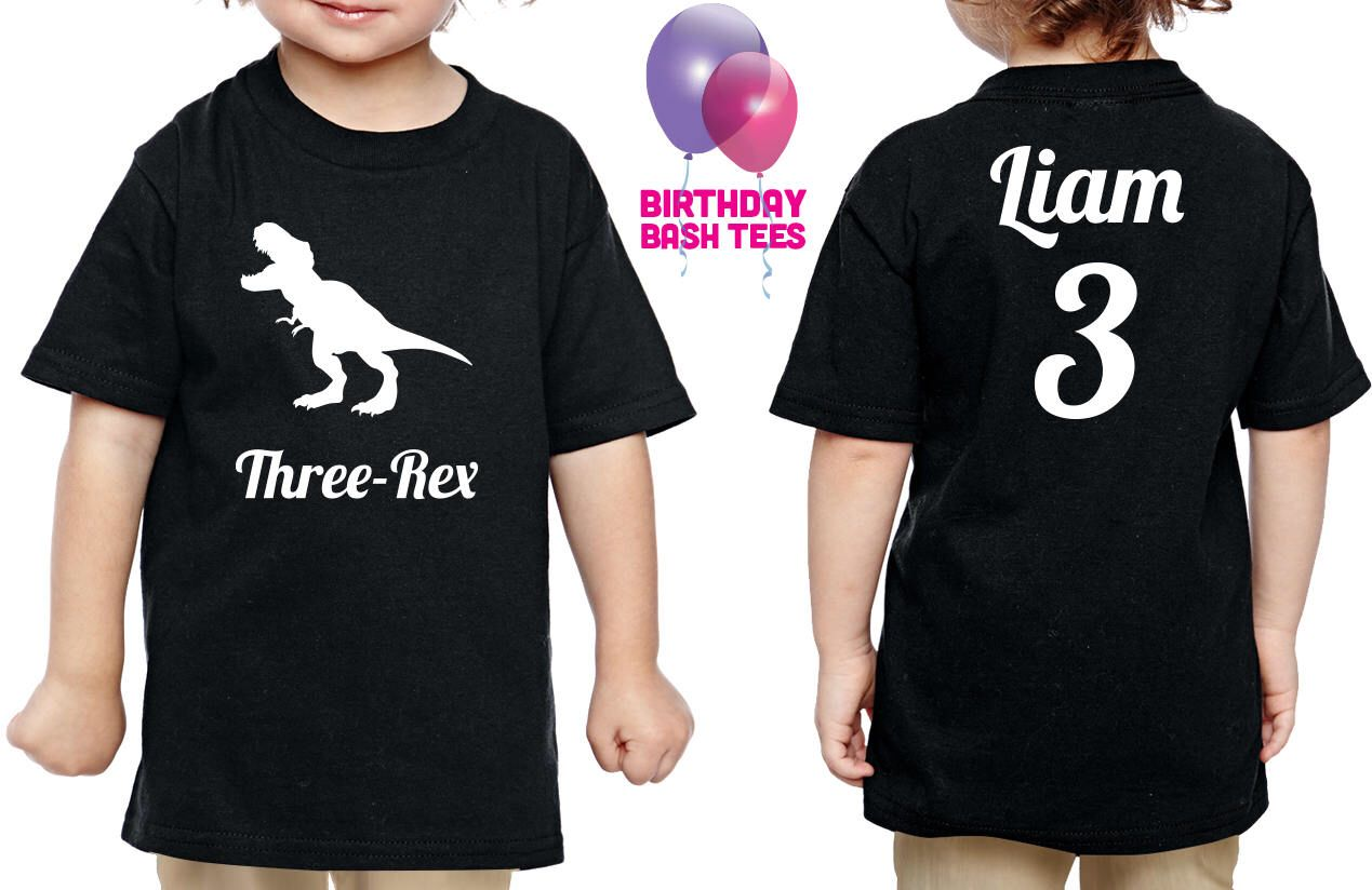 3 Year Old Dinosaur Birthday Shirt Three Rex Niece Nephew Son Daughter