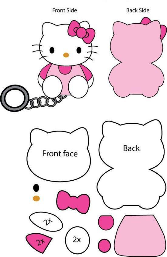 сшить Китти, Hello Kitty | Выкройки, Котенок и Войлочные куклы