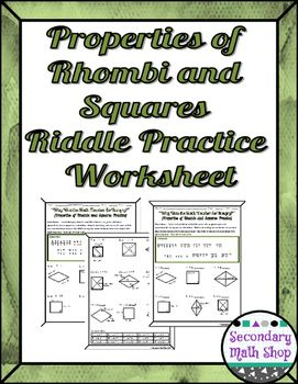Quadrilaterals Properties Of Rhombi And Squares Riddle Worksheet Free Math Lessons Middle School Math Resources Quadrilaterals