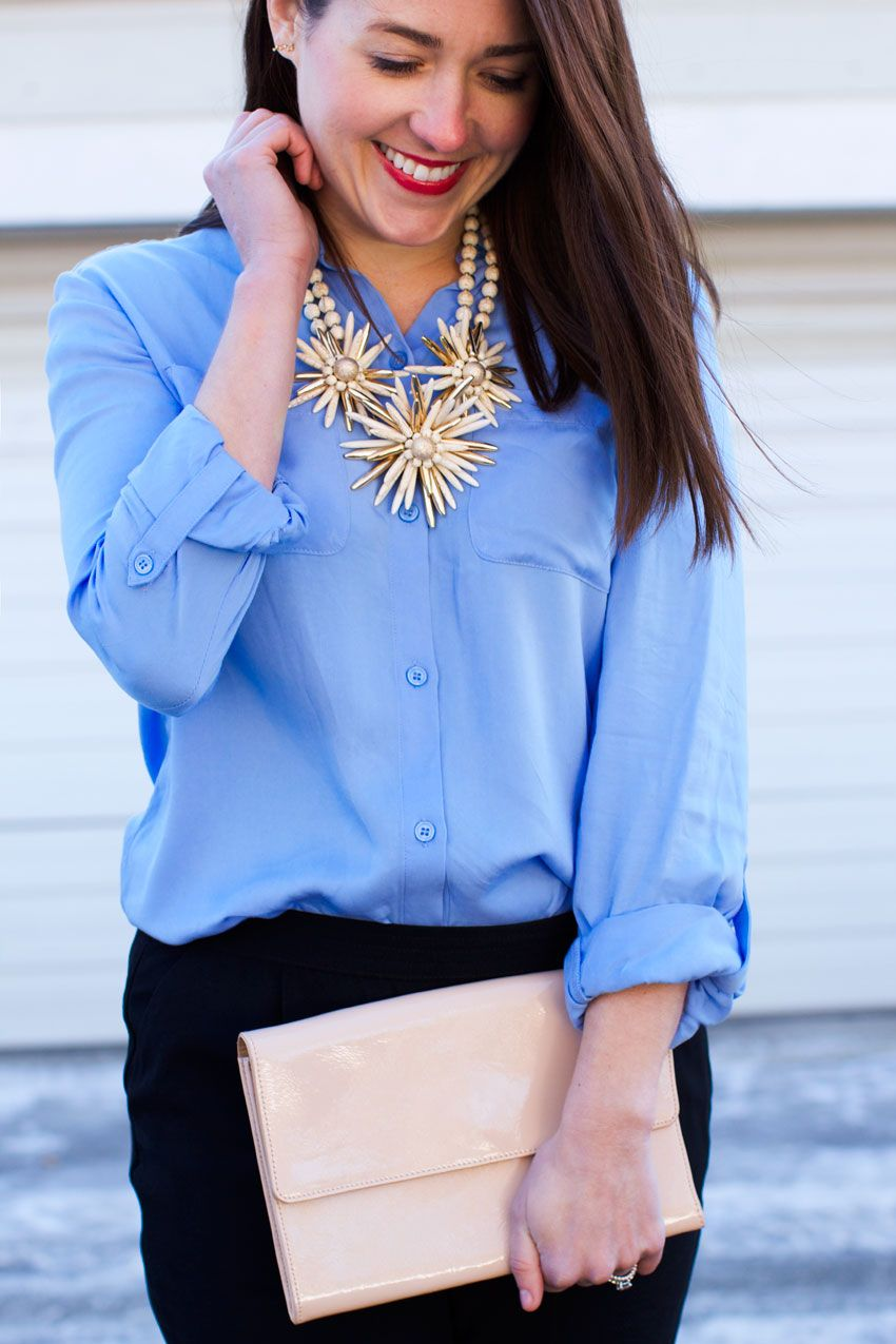 @lizschneider sporting Chico's Back Pleat Babette Shirt paired with our limited-edition Valencia Necklace.
