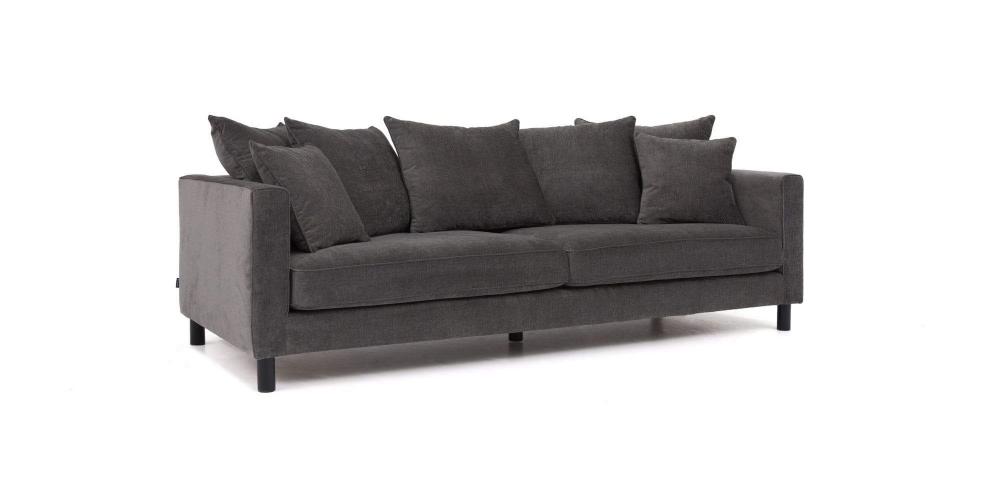 Bygdøy 3,5 seter i mørkegrått stoff er en stilfull og ...