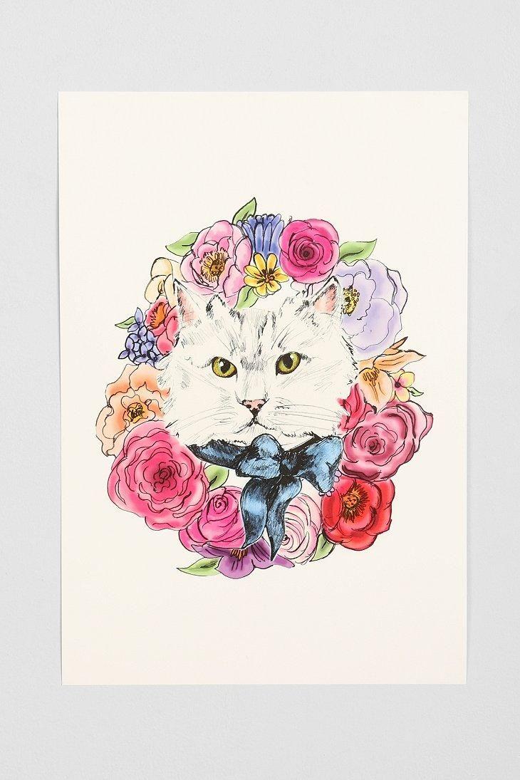 Evie kemp kitty wreath art print urbanoutfitters dibujos