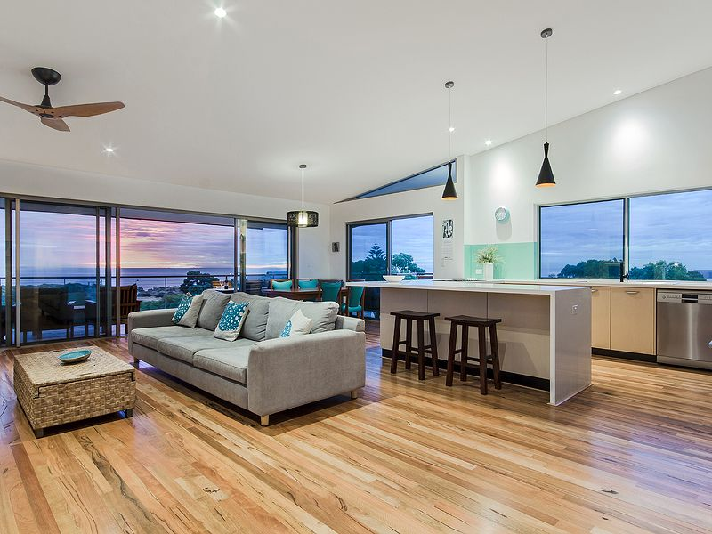 Open Plan Living Timber Flooring Trinidad Ceiling Fan Beach House Style Interior