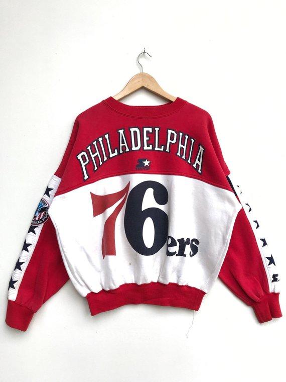 Rare Vintage Nba 76ers Philadelphia Sweatshirt Starter Sweatshirt Basketball Clothing Sixers Pullove Basketball Clothes Clothes Sweatshirts