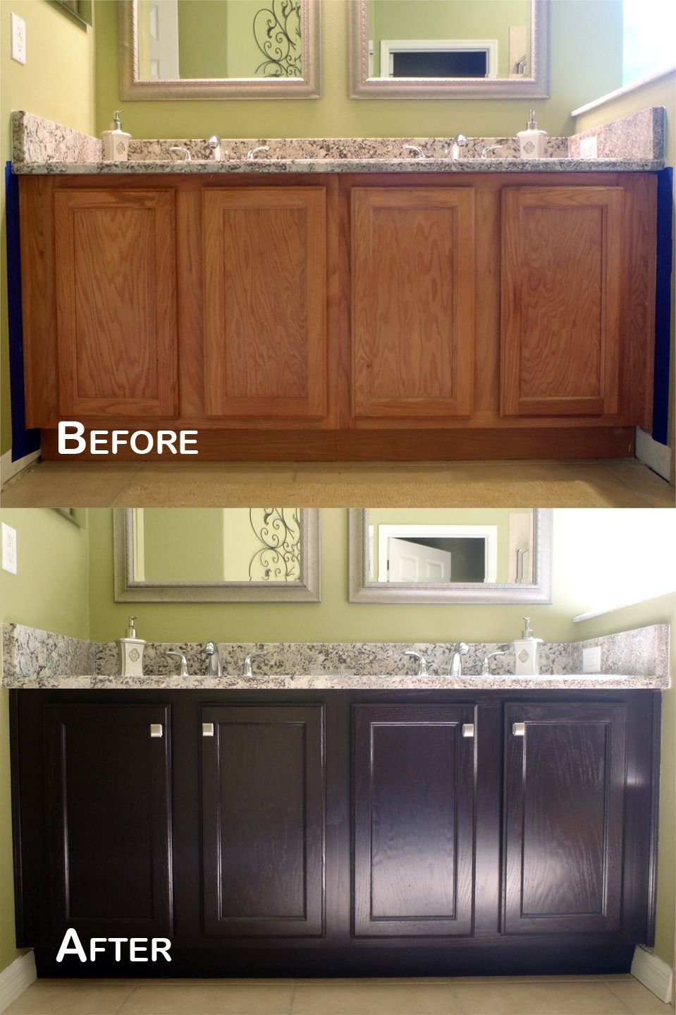 Amazing Transformation General Finishes Java Gel Stain Clear Satin Topcoat With Purd Stained Kitchen Cabinets Staining Cabinets Kitchen Cabinets Makeover