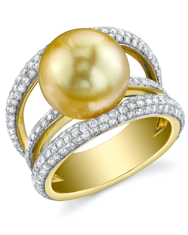 Golden South Sea Pearl & Diamond Eternity Ring £3k