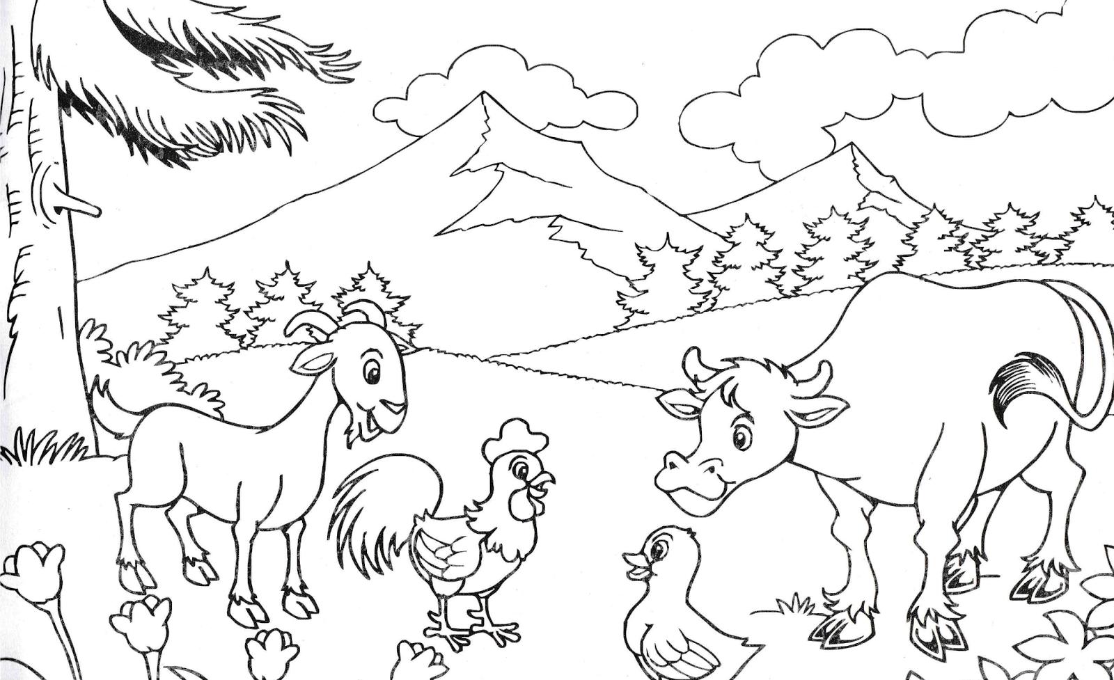 Download Sketsa Gambar Pemandangan Fauna