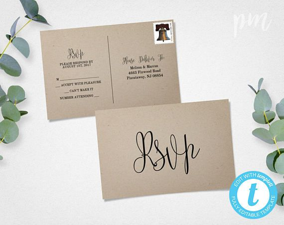 Rustic RSVP Postcard Template, Calligraphy Script Wedding RSVP