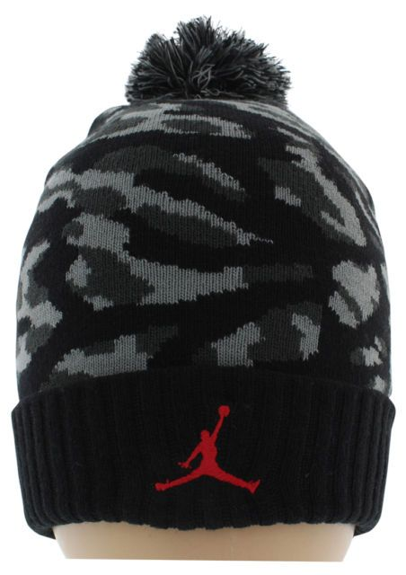 52c050a1d17 Jordan Mens Jumpman Pom Camo Knit Beanie Hat Black One Size ...