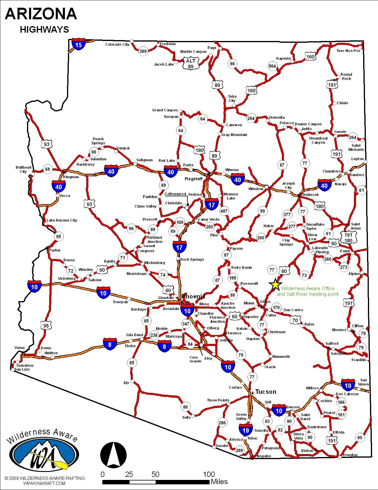 image of arizona state highway map Salt River Canyon Road Map