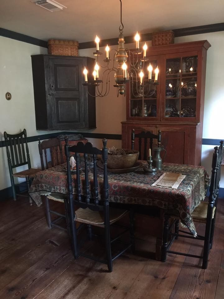 Primitive Dining Rooms Country Decor Farmhouse Kitchens American Gothic Early Colonial Decorating Vintage Room