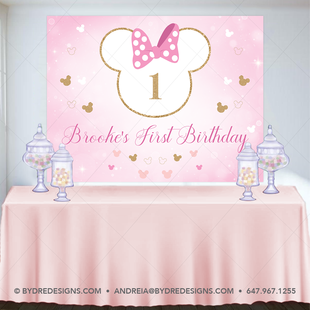Minnie Mouse Backdrop Minnie Mouse Birthday Banner Minnie Mouse