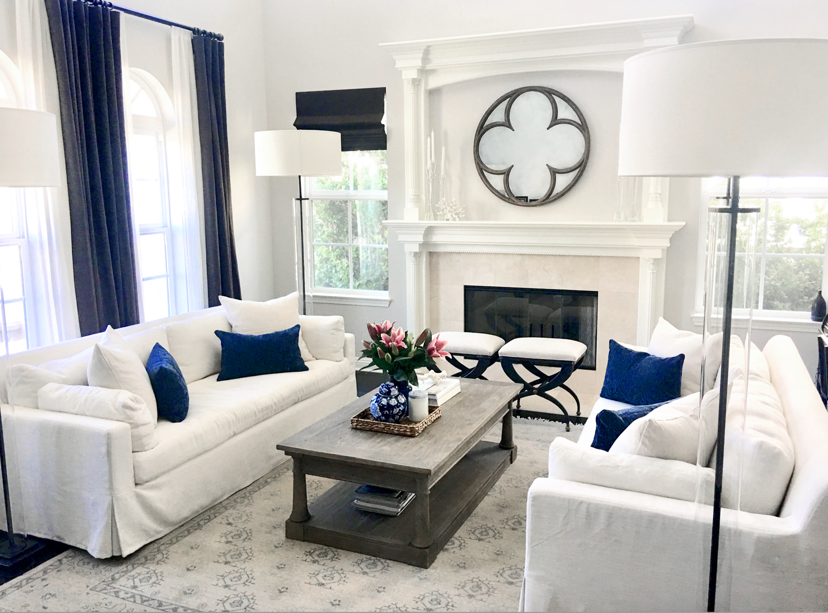 Elegant all white and blue transitional style living room ...