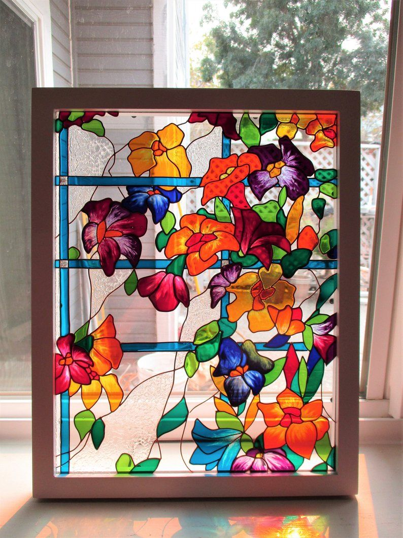 Flowers Art Glass Painting Stained Glass Sun Catcher Painted Etsy Glass Painting Glass Painting Patterns Glass Painting Designs