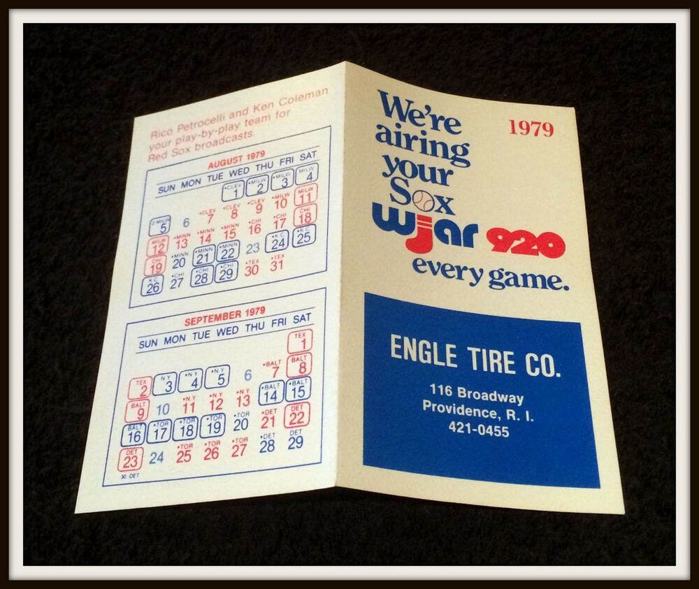 1979 Boston Red Sox Engle Tire Company Baseball Pocket Schedule Free Shipping Pocket Schedule V 2020 G