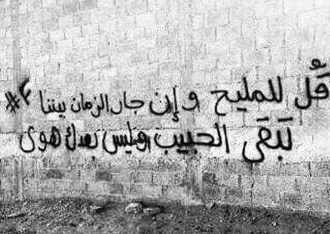 قل للمليح و إن جار الزمان بيننا تبقى الحبيب و ليس بعدك من هوى Graffiti Words Street Quotes Beautiful Arabic Words