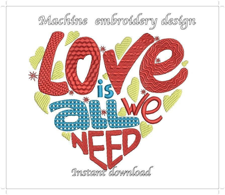 Love pes INSTANT DOWNLOAD love pes embroidery design digital embroidery valentine pes